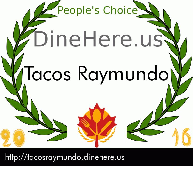 Tacos Raymundo DineHere.us 2016 Award Winner